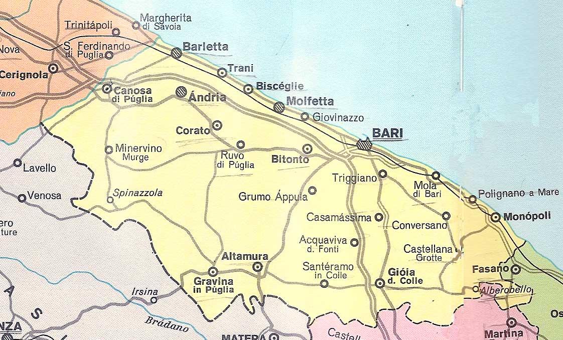 Cartina Di Gravina In Puglia.Cartina Della Puglia E Mappe